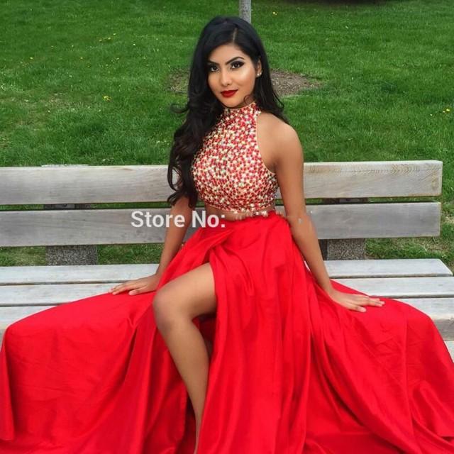 ffa03606d Rojo de Dos Piezas de Vestidos de Baile 2017 Vestidos Cortos De Gala Con  Cuello Alto