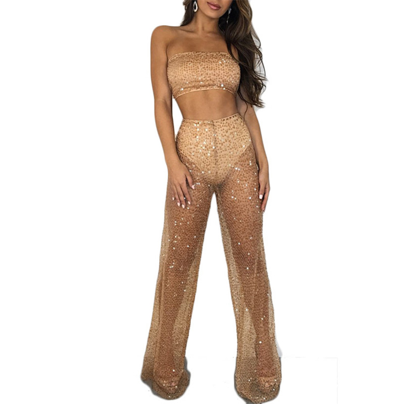 Sale Shop   Women Sheer Mesh Sequin 2 Piece Set See Through Strapless Crop  Top and Pant Set Club Party Off Shoulder Glitter 2 Piece Outfits-in Women s  Sets ... b91840dd65fb