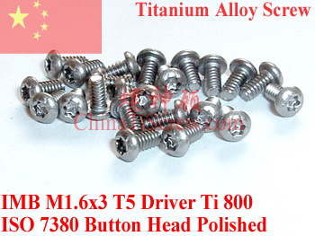 Titanium Alloys Screws M16X3 ISO 7380 Button Head Torx T5 Driver Polished 50 Pcs