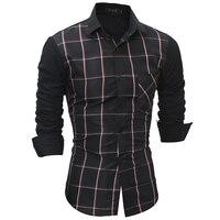 2017 New men brand shirt Hot Sale Camisa Masculina Dress Shirts Long Sleeve Plaid Men Casual Shirts Slim Men High Quality Shirt