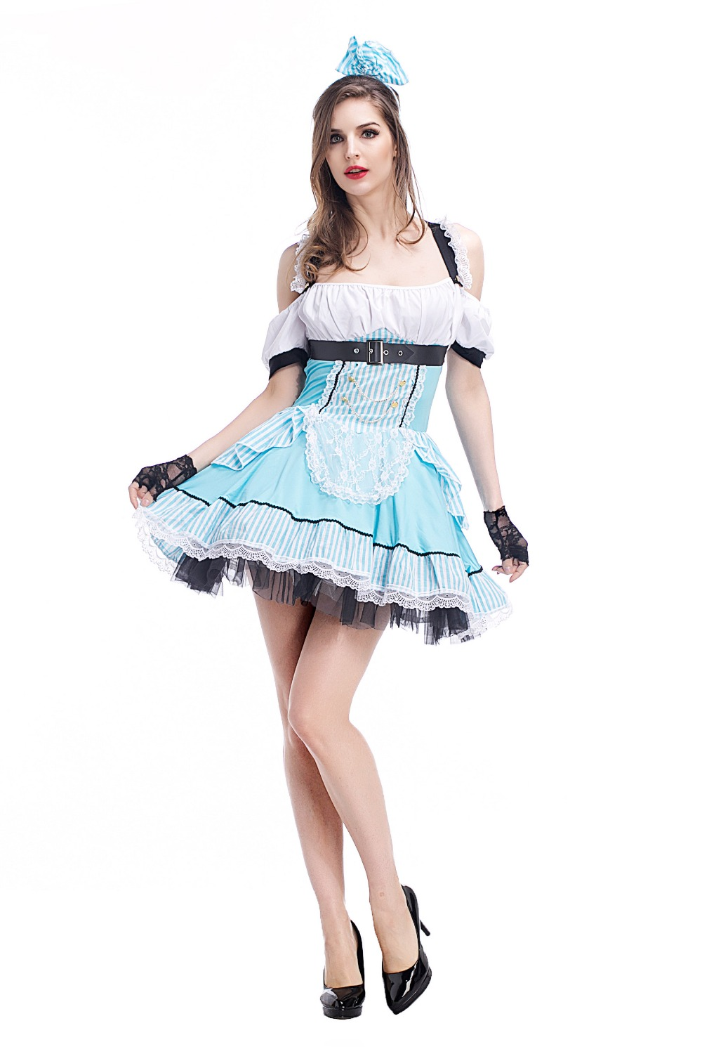 <font><b>Alice</b></font> <font><b>in</b></font> <font><b>Wonderland</b></font> <font><b>Costume</b></font> <font><b>Sexy</b></font> Adult Women Blue French Maid <font><b>Costume</b></font> Halloween Carnival Fancy Party Dress image