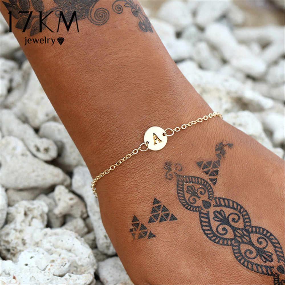 17 км Модный золотой цвет браслет с буквами и браслет для женщин простой Регулируемый браслет с именем Pulseras Mujer ювелирные изделия вечерние подарки