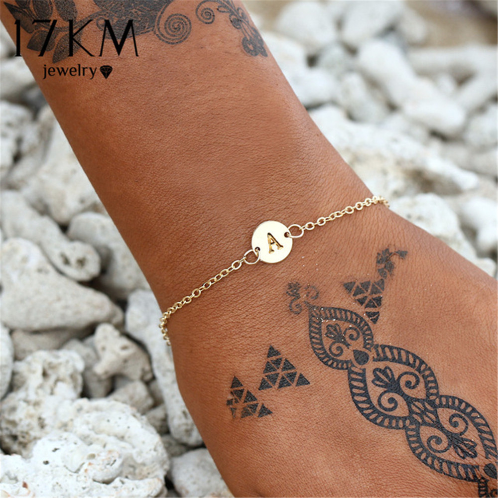 17KM Fashion Gold Color Letter Bracelet & Bangle For Women Simple Adjustable Name Bracelets Pulseras Mujer Jewelry Party Gifts