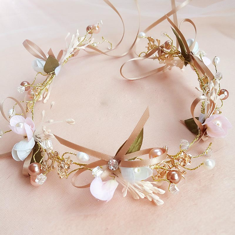 New Floral Handmade Bride Bow Flower Wreath Bridesmaid Hair Band Children Flower Girls Headband Wedding Headdress Hair Ornaments fashion bridal veils party wedding hair accessories flower girls bridesmaid hair band floral lace veil headdress free shipping