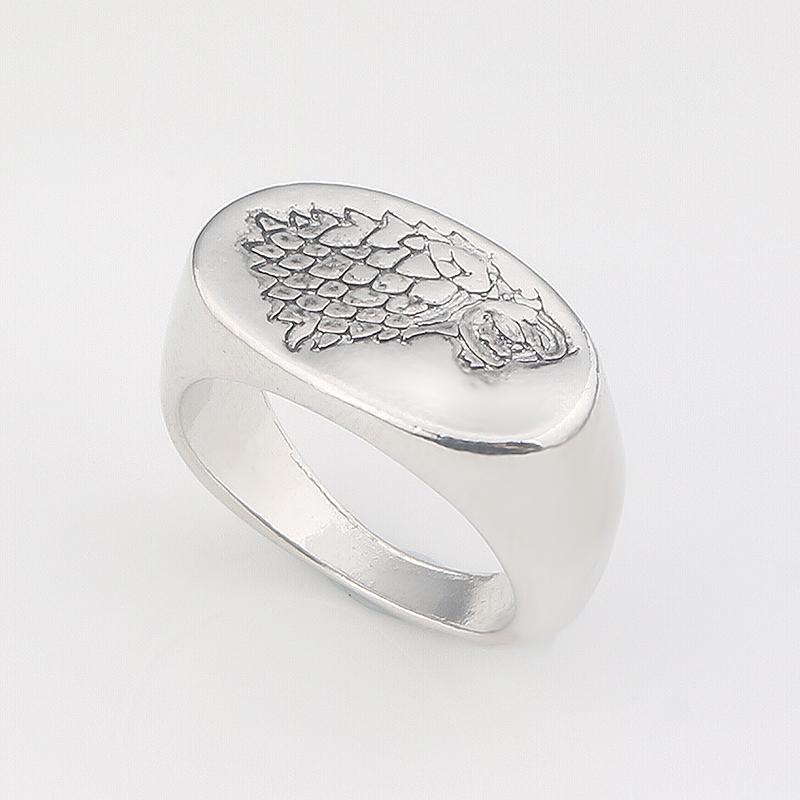 Game of Thrones House Stark Silver Direwolf Ring Engraved Wolf Signet Ring