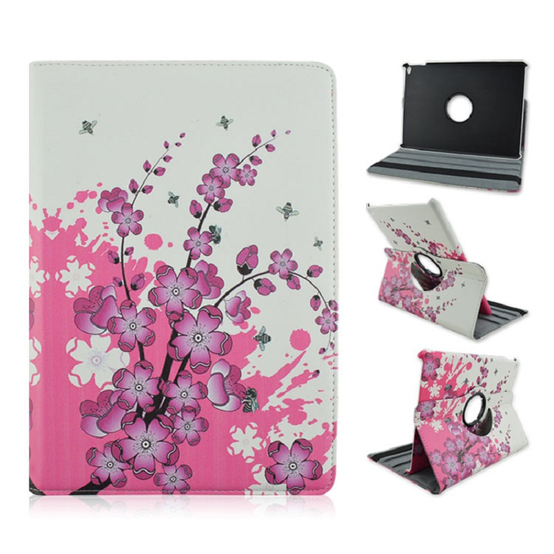 Foldable PU Leather Pad Cover with Red Flower Style Support 360 Degrees Rotation for iPad Air 1 2 iPad 2017 foldable pu leather pad cover with flower girl driving style inlaid diamond support stand for ipad mini 3