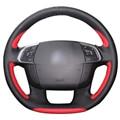 Xuji orange azul vermelho preto de couro artificial tampa da roda de direcção do carro para citroen c4 c4l ds4
