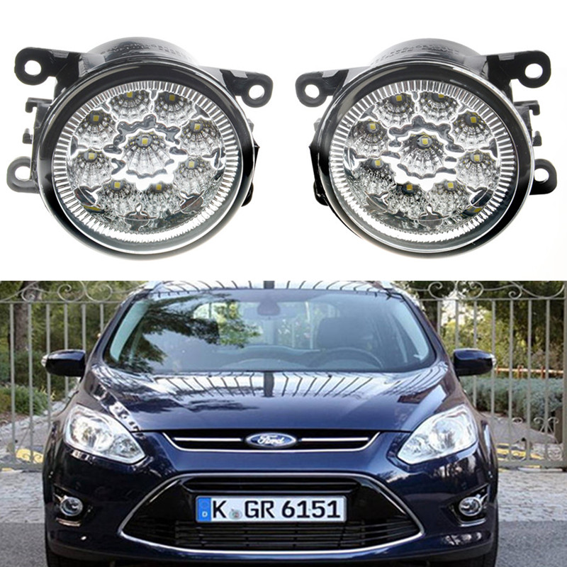For Ford Tourneo Fusion Fiesta C-Max FOCUS GRAND TOURNEO  AUSTRALIA 2001-2015Car styling LED fog Lights General fog lamps 1set for ford fiesta vi hatchback 2008 2015 fog lamps led car styling 10w yellow white 2016 new lights
