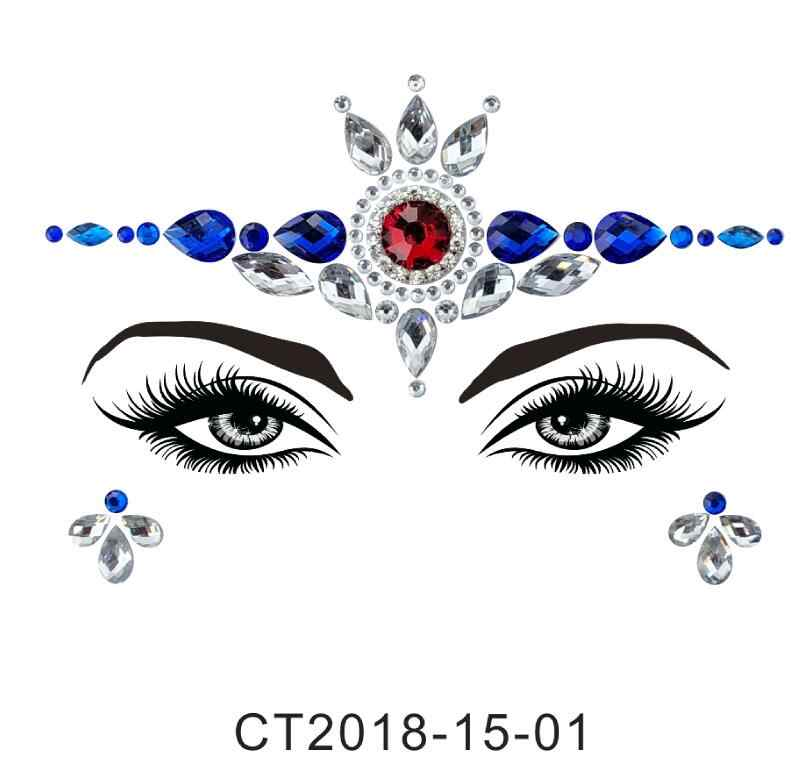 25 estilos de pegatinas adhesivas de cristal para la cara Fiesta de la frente de los ojos joyería Festival Bindi arte corporal tatuaje pegatinas herramienta de belleza