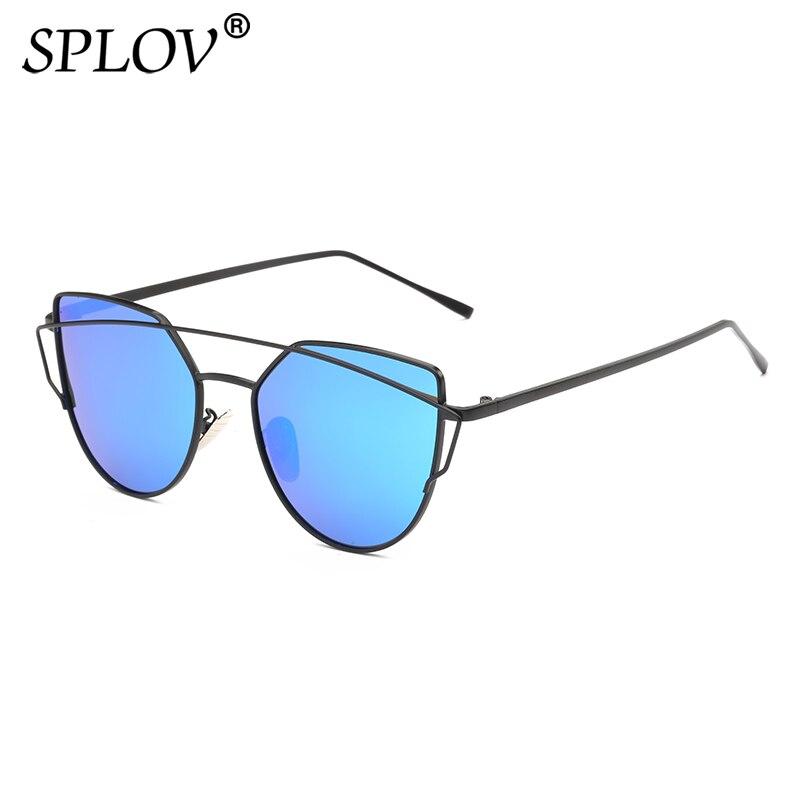 SPLOV Fashion Cat Eye Occhiali Da Sole Polarizzati per Le Donne Dell'annata Doppio Travi Metal Frame Occhiali Da Sole di Guida Femminile Occhiali UV400