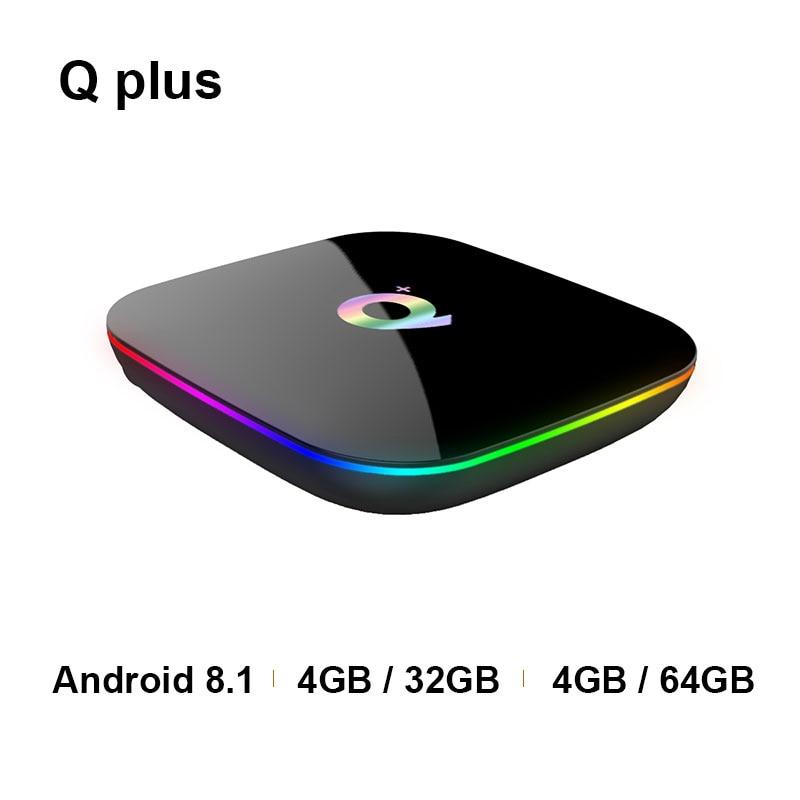 Nouveau T95 Q + plus Android smart 8.1 TV box H6 Quadcore cortex-A53 Mali-T720MP2 USB3.0 double WIFI HDMI 2.0 6 K PK MI BOÎTE