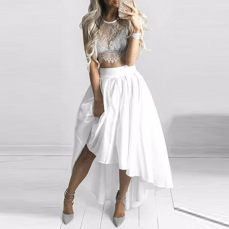 High Low White Maxi Skirt