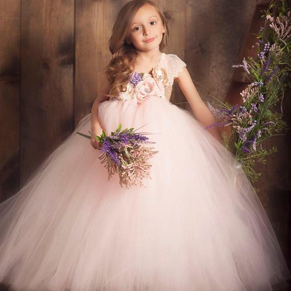 Flower Girls One Shoulder Toddler Party Dress Beige Top Pink White Polyester Tulle Lace Evening Dresses Vintage Dress Kids Tutu (9)
