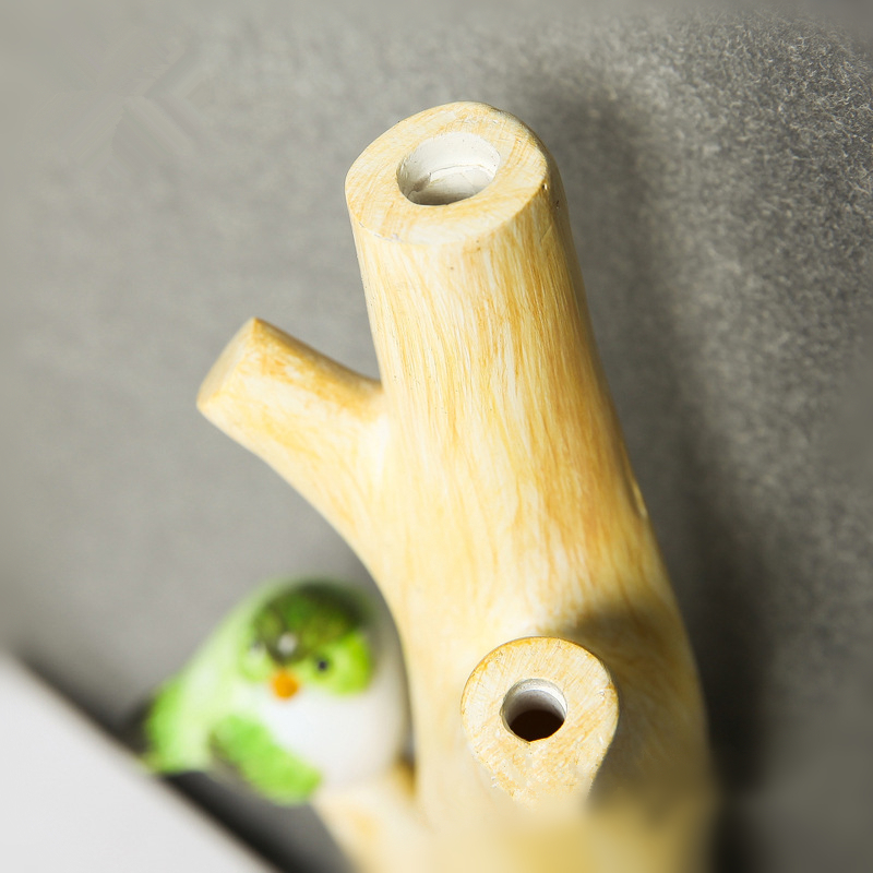 VILEAD 21cm Resin Branch Bird Hook Up Figurines American Pastoral Creative Home Key Ring Hook Coat Rack Wall Hanging Decrations in Figurines Miniatures from Home Garden