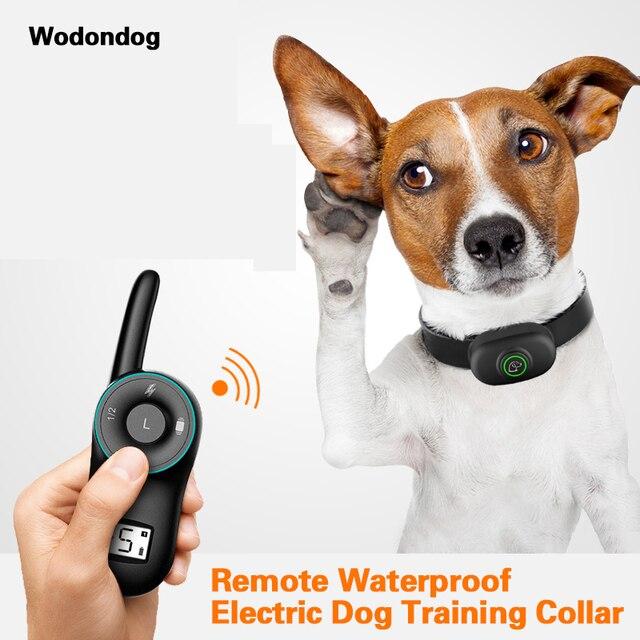 Collare di Addestramento Del cane Collare di Scossa Elettrica Con La vibrazione di un segnale acustico Antibark IP67 Impermeabile Collare Ricaricabile Telecomando