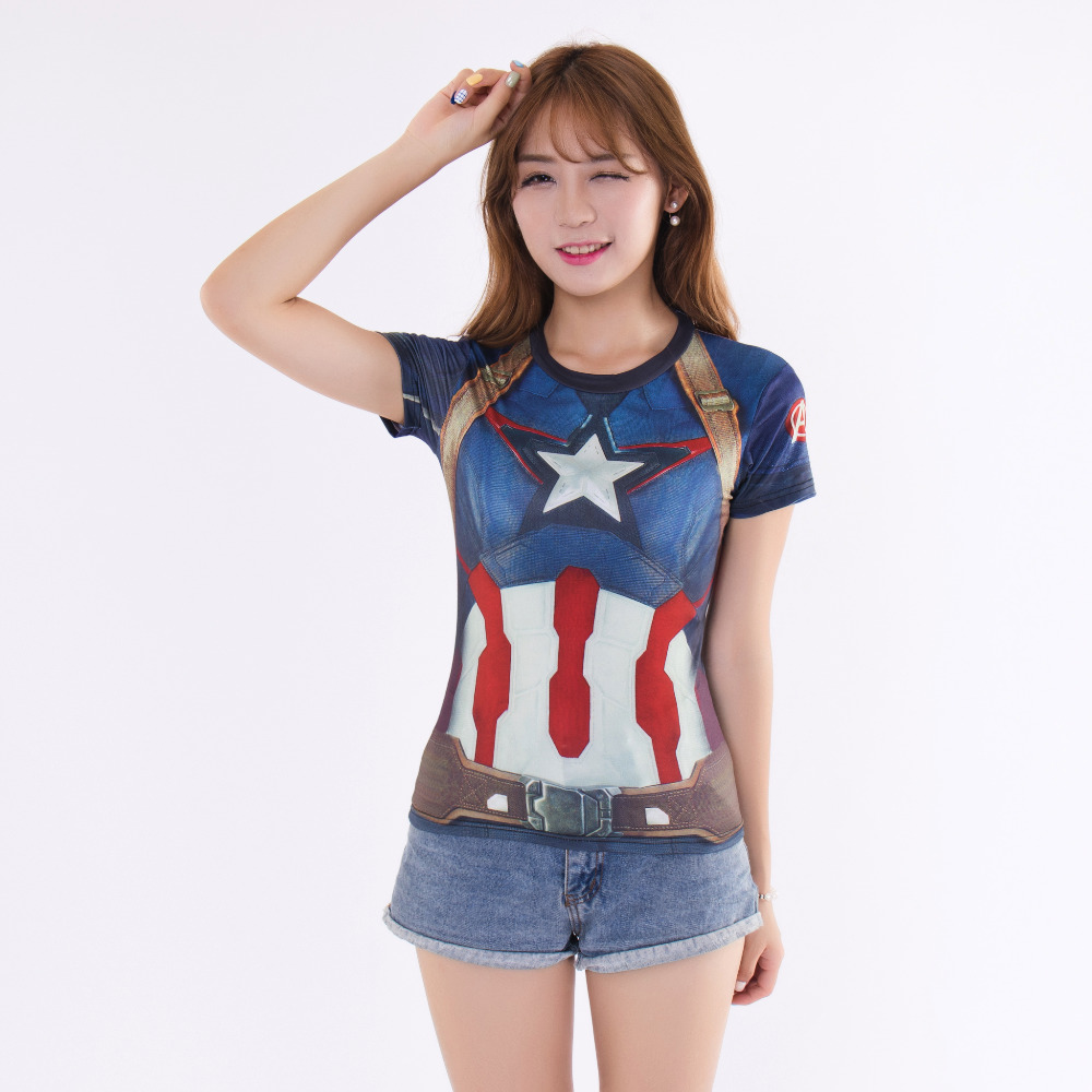 Marvel Women Superman Compression T Shirt Short Sleeve Summer Fitness Slim Dry Quick Tee Tops camisetas mujer