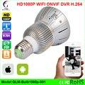 Inicio lámpara de la bombilla mini cámara ip wifi sd micro cctv seguridad wifi Cámara HD 1080 P de Visión Nocturna de Vigilancia de Audio Inalámbrico cámara