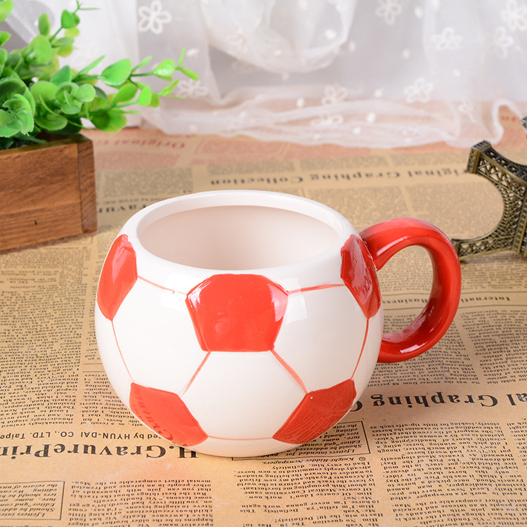 3D stereo creative hand painted football mug office large ceramic cup children drinkware Christmas gift