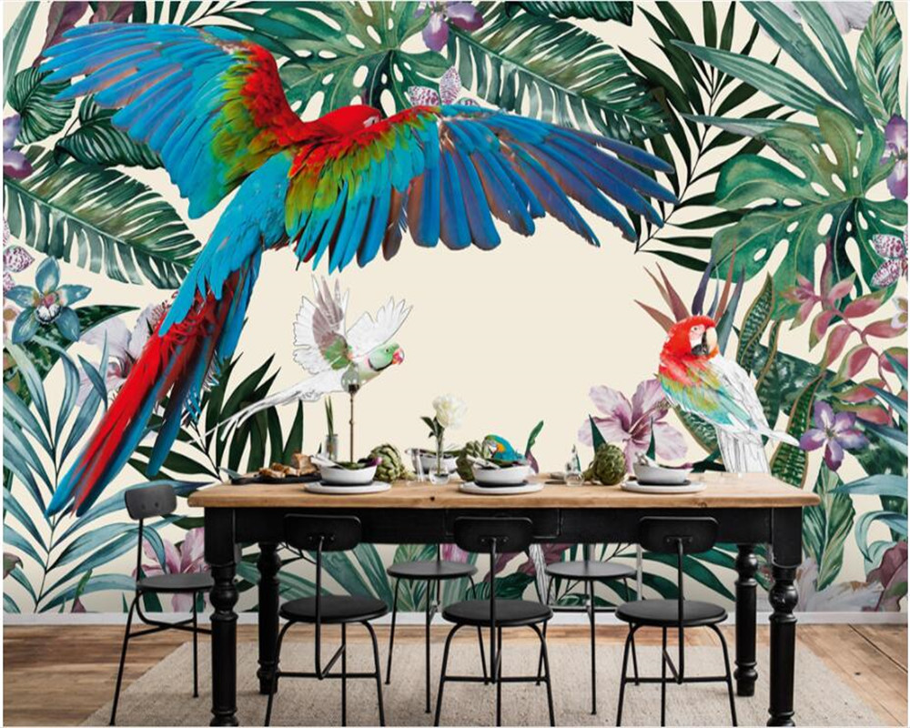 New Custom Wallpaper Natural art Hand painted tropical rain forest plant parrot background wall paper murals beibehang