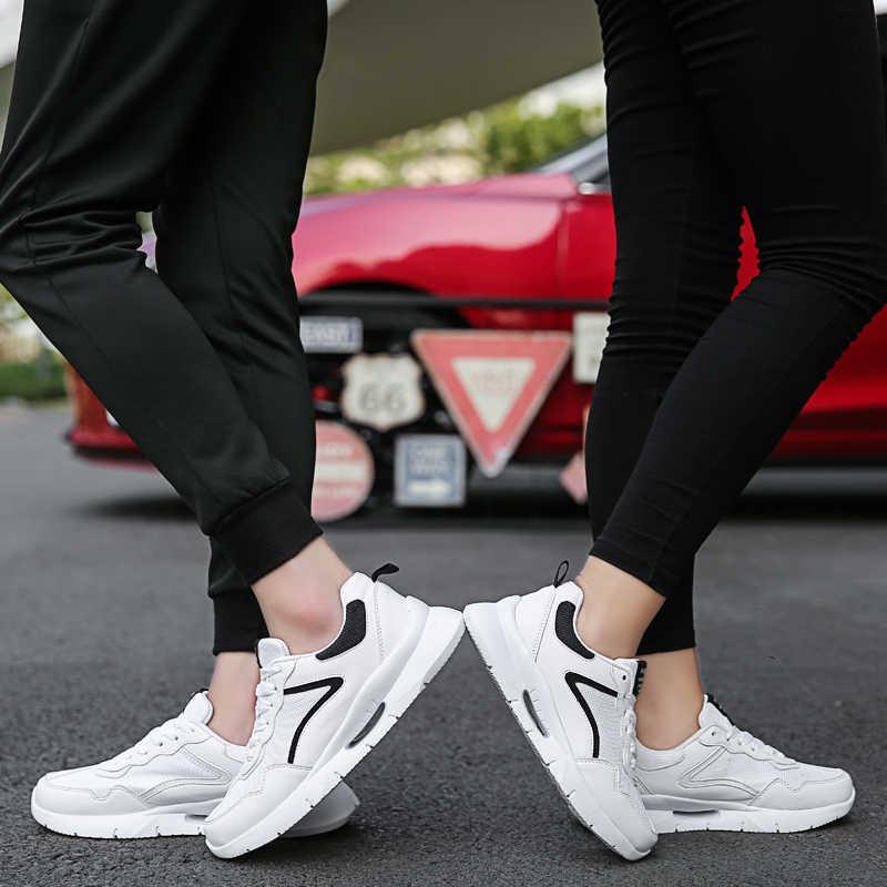 Fuegos hombres zapatos casuales transpirables otoño malla mocasines amantes zapatos marca pareja suelas suaves OutdoorSneakers zapatos de luz de encaje