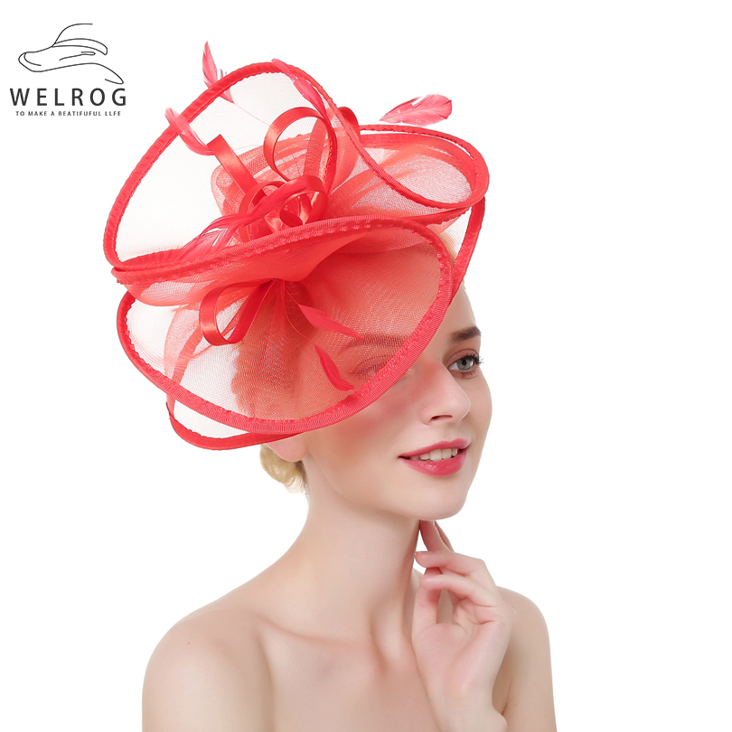 5ddd8c9e [HOT DEAL] US $11.54 for WELROG Women Trendy Fascinators Feather Headband  Mesh Solid Hair Clips Hairpins for Party Wedding Lady Female Vintage  Headdress