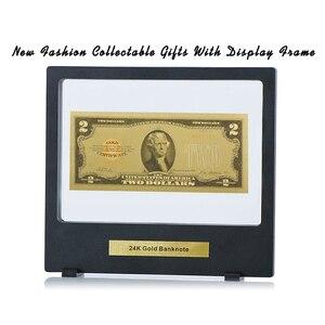WR 2 доллар 24 к Золотая банкнота уникальные подарки 2 доллара мира бумажные деньги Американский Usd 2 доллар поддельные деньги с черной коробко...