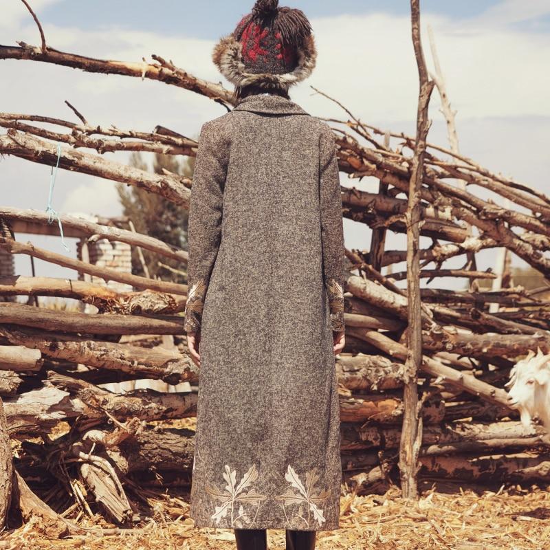 Taille Lâche Grand Broderie Vintage Occasionnel La long Aporie Bref Roi Wome X Laine Poitrine D'hiver Revers Beige Veste Unique Plus New pYpZc107