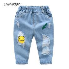 167ee3c6eb990e Lememogo Del Bambino Jeans Strappati Ragazzi 2-7 Anni Del Fumetto di Stampa  Dei Pantaloni Delle Ragazze Primavera Autunno Dei Ba.
