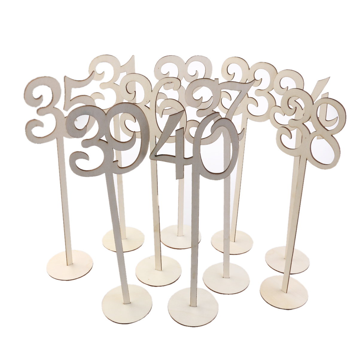 10pcs numbers 31 40 rustic wedding table decoration wooden wedding table number holder party table
