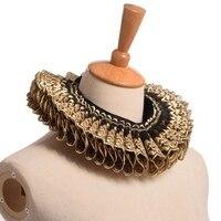 Vintage Renaissance Neck Ruff Gold Black Ruffles Collar Elizabethan Gothic Cosplay Neck Collar Neckwear Cosplay Props