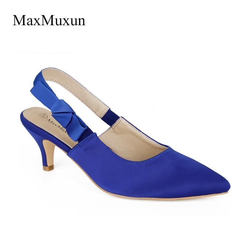 MaxMuxun Shoes Women Satin Puntas en punta Slingback Bombas Low Mid - Zapatos de mujer