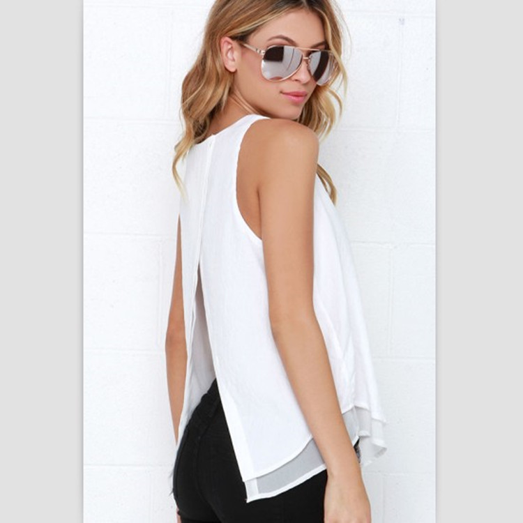 Lossky Individual Tee Shirt Femme 2016 Summer Style Women Tops Sleeveless Double Layer Ropa Mujer Loose blusas White Blouse 2