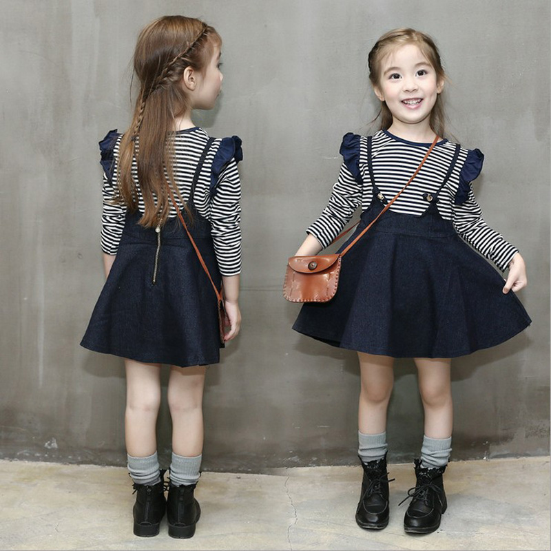 2016 Autumn New Girls Clothing Set Casual Striped T Shirts Jean Denim Overall Dress Set Children Clothes Kids Cotton Suit