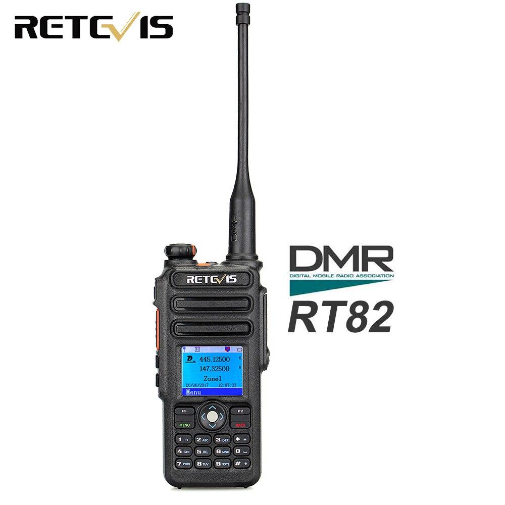 Retevis RT82 GPS de doble banda DMR Walkie Talkie Radio Digital DCDM TDMA IP67, a prueba de agua, de mano, transceptor, Ham Radio Comunicador 433MHz LoRa RS232 RS485 módem DTU de larga distancia 2km 17dBm transmisor inalámbrico módulo Digital MEC PLC receptor
