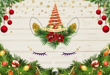 Laeacco Christmas Balls Fir Wooden Boards Unicorn Party Photography Backgrounds Custom Photographic Backdrops For Photo Studio