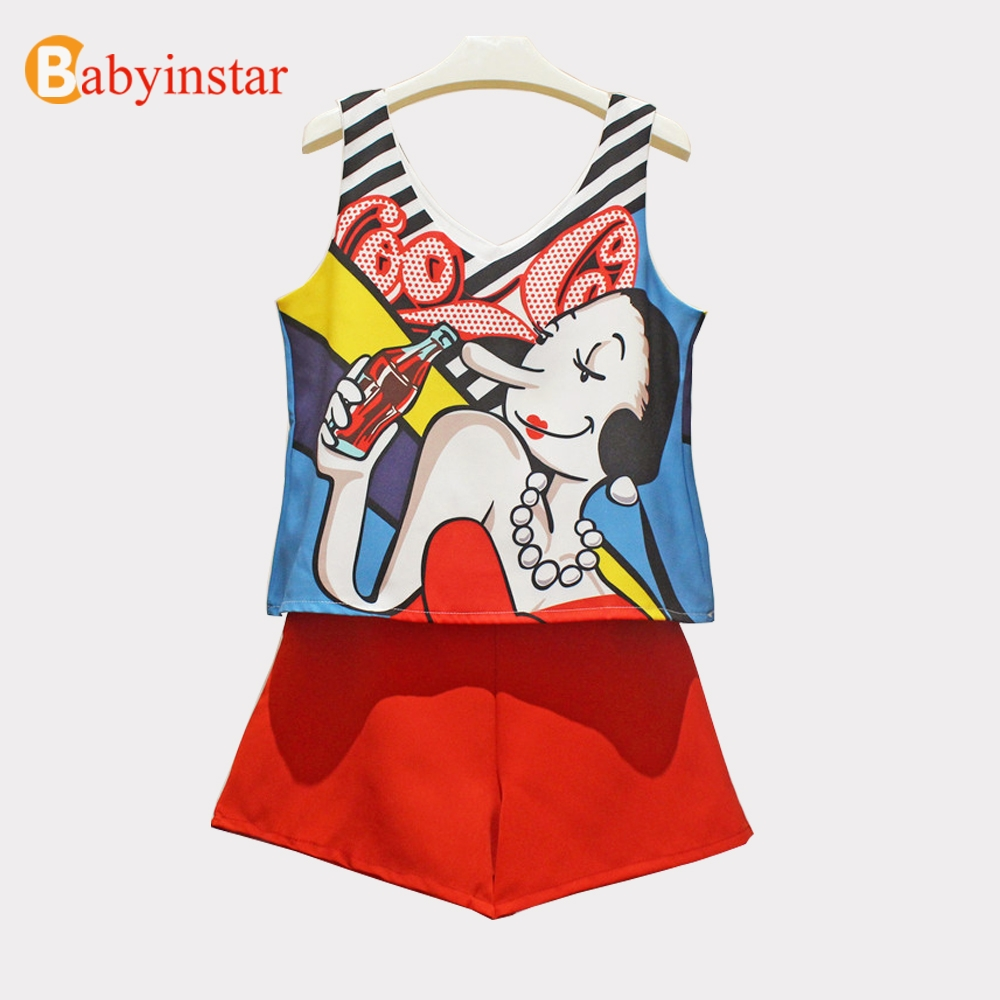 Babyinstar Cute Graffiti Pattern Sleeveless T-shirt + Red Shorts Fashion 2pcs Summer Clothing Sets Kids Clothing Girls 2pcs Sets