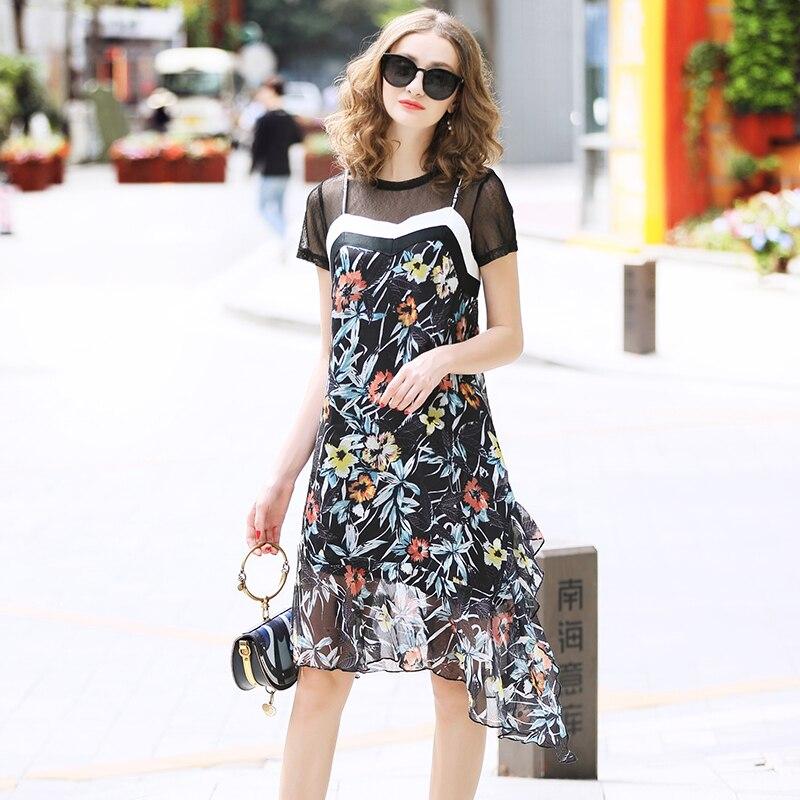 ladies dress Brand copy runway 2019 luxury See Through Dress Mini Dress Short printed gauze lotus leaf flower patchwork lace