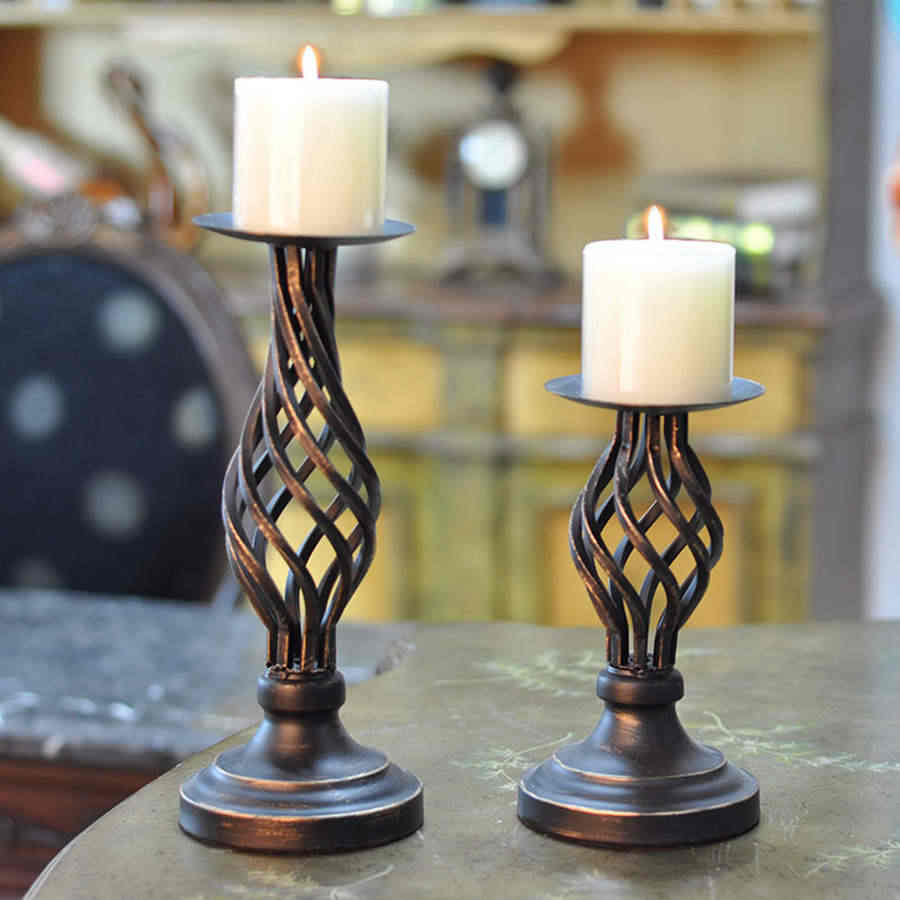 Vintage American Hollow Candle Holder Iron Wedding Decor Moroccan Lamp Black Candle Holder Big Bougeoir Centerpieces 50ch027