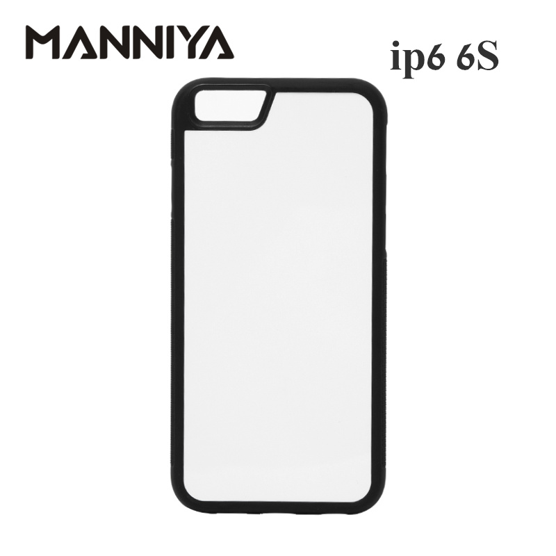 MANNIYA Blank 2D Sublimation TPU + PC gummi etui til iphone 6 6s med aluminiumsindsæt Gratis forsendelse! 100pcs / lot
