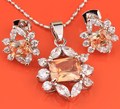 Adorable Wholesale Brown Morganite Silver Jewelry Sets Earrings Pendant Ring For Women S8083