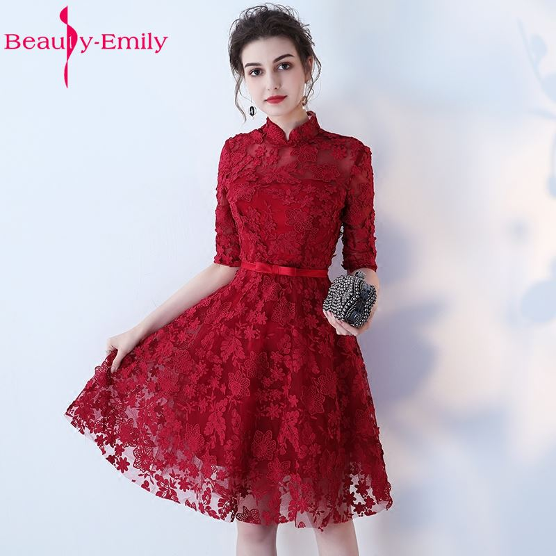 Beauty-Emily Burgundy Lace Short Knee-Length Bridesmaid Dresses 2019 High Half Sleeve Lace Up A-Line Party Prom Dresses