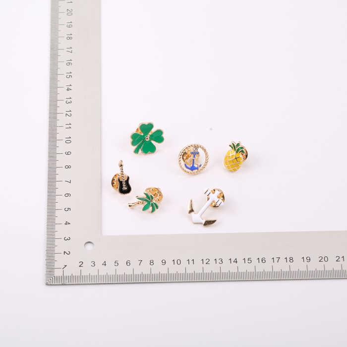 Enameling Pohon Kartun Gitar Jangkar Beruntung Clover Kaktus Nanas Logam Bros Pin Pin Tombol Jins Tas Dekorasi Hadiah