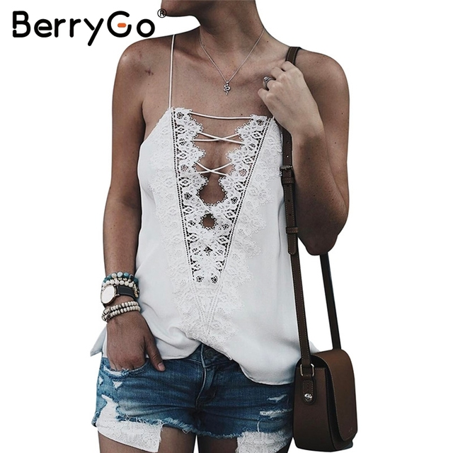 38500b48a177f BerryGo Sexy adjustable strap camisole tank top female Casual lining autumn  satin lace up cami women