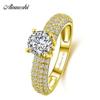 AINUOSHI 10k Solid Yellow Gold Ring 1ct Round Cut 4 Rows Drill Splendid SONA Diamond Ring Wedding Engagement Jewelry Bridal Band