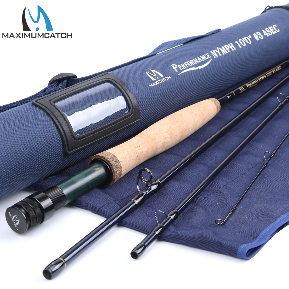 Maximumcatch Maxcatch Performance Nymph Fly Fishing Rod 2/3/4WT 10/11FT 4 Section IM10 Carbon AAA+ Cork Handle Cordura Rod Tube