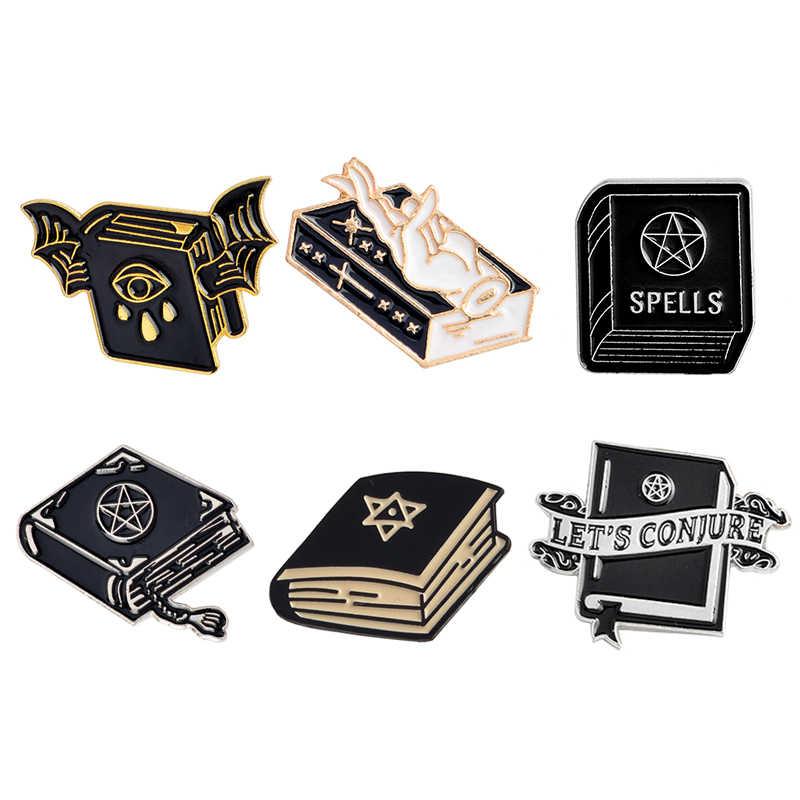 Черная эмалированная брошка в виде книжки «летучая мышь», Нагрудный значок, джинсовая сумка для джинсов, сумка в стиле «панк», подарок для друзей