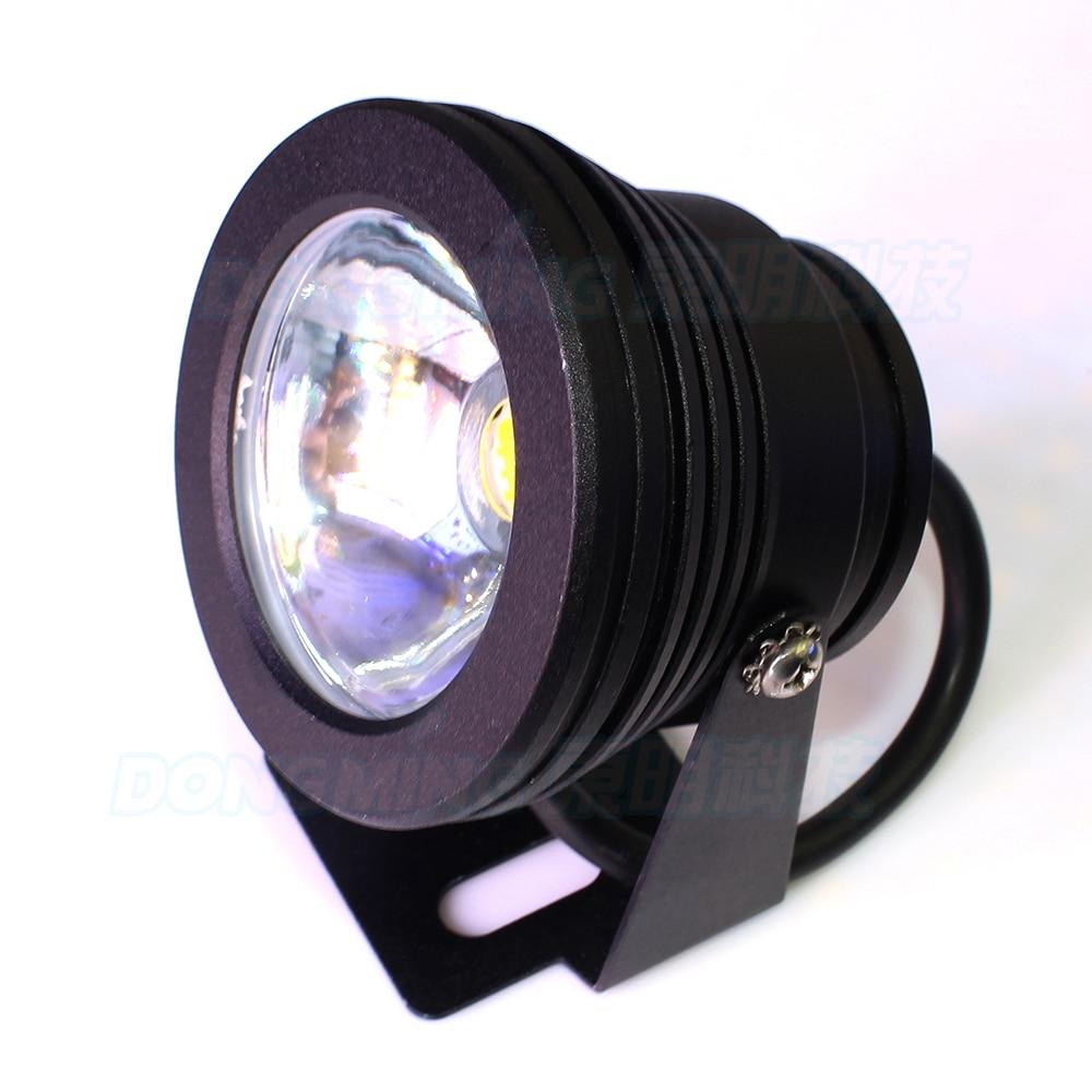 10pcs Black cover AC85-265V flat lens led underwater light green red blue underwater led lamp IP68 10W pool led flashlight