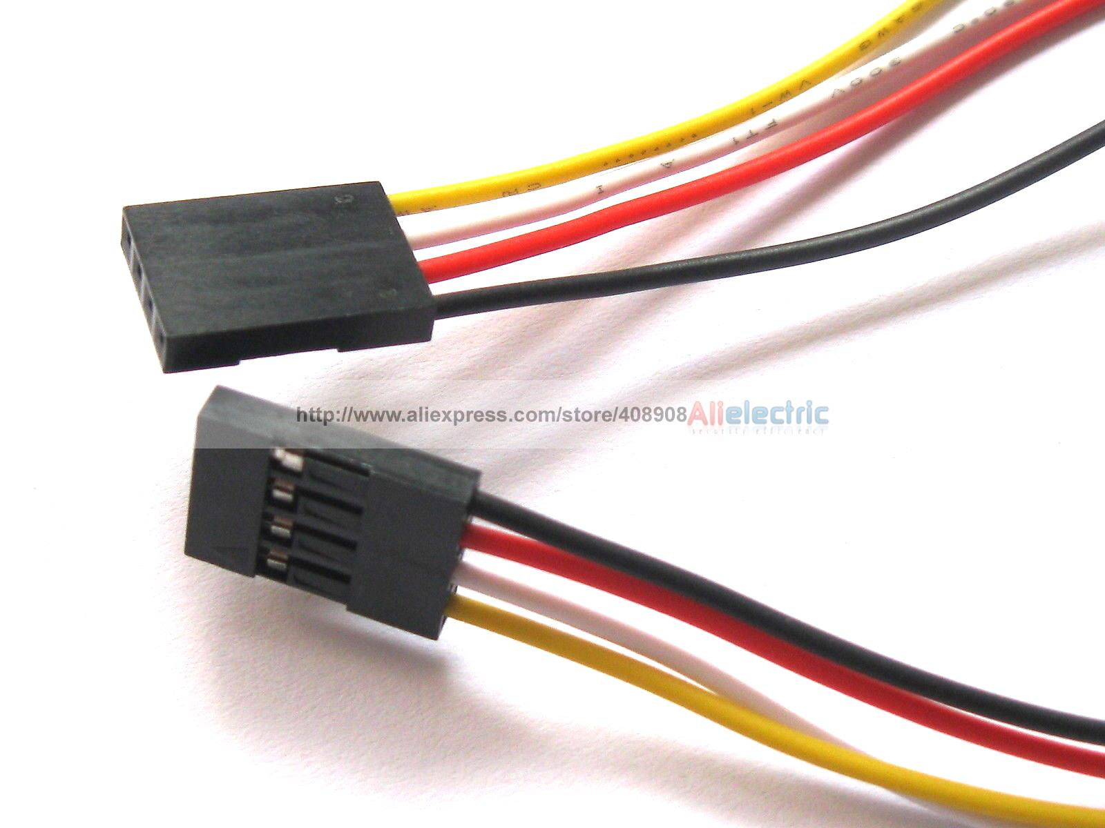 ФОТО 120 Pcs Jumper Wire Female to Female 4 Pin Pitch 2.54mm 4 Colors 30cm 12