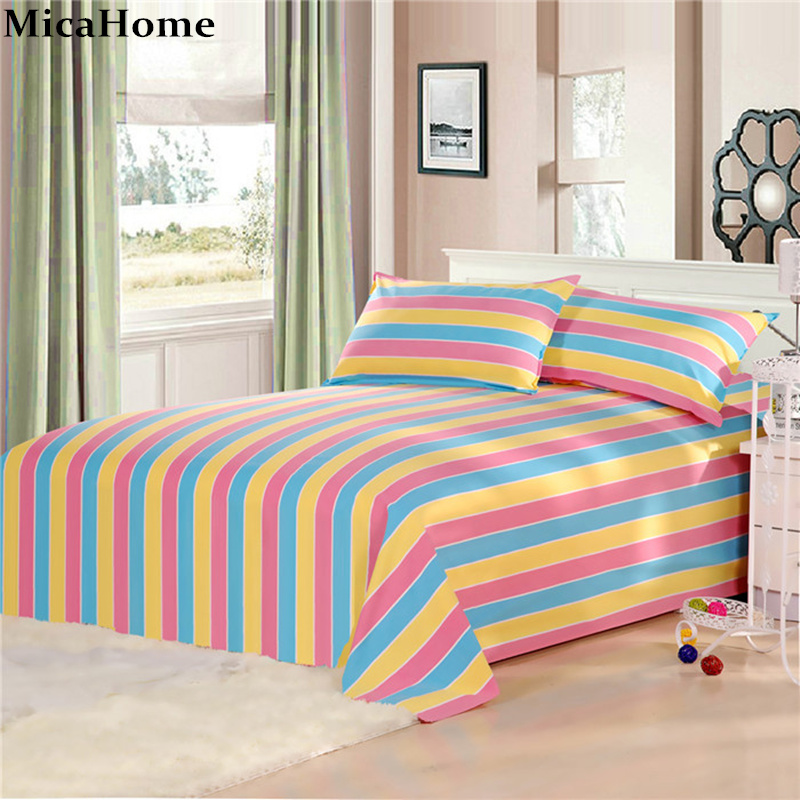 Thick Bed Sheets Polyester Cotton Ed Sheet Classical Folk Wind Style Stripe Winter Bedding Cloth