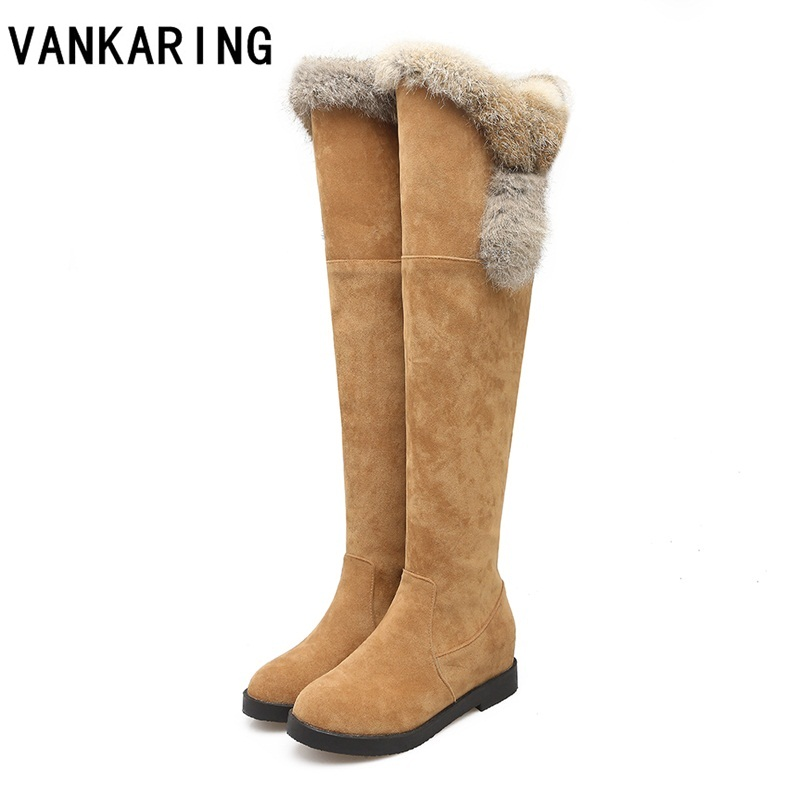 VANKARING brand autumn shoes winter warm snow boots ladies wedges high heels plush fur women's over the knee high boots platform цена 2017